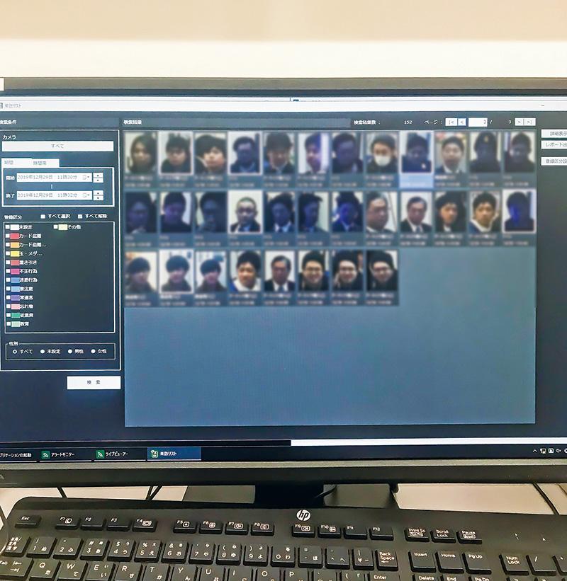島上に設置した来店者検知システム『フェイスコープ』。セキュリティ向上はもちろん、サービス力向上にも活用できる